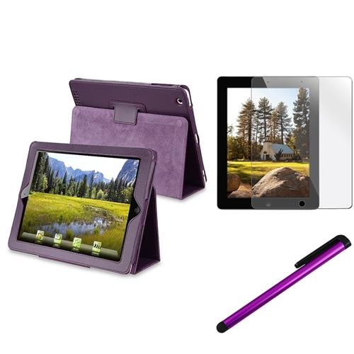 Insten Purple Leather Stand Case+Screen Protector+Stylus Pen for iPad 4 4G /3 3G/2 2G (Supports Auto Sleep/Wake)