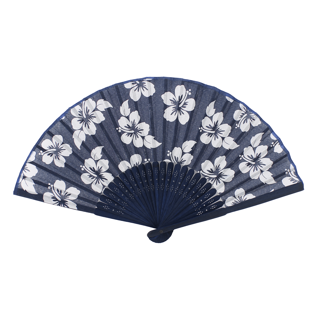 Bamboo Ribs Flowers Printed Chinese Minority Fabric Foldable Craft Hand Fan
