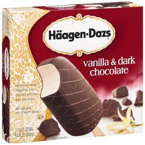 Haagen-Dazs Vanilla And Dark Chocolate Ice Cream Bars,3 ct,  9 oz