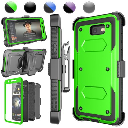 Galaxy Halo Case, Galaxy J7 Sky Pro / Perx Case, J7 V/J7 Prime Holster Clip, Njjex [Green] [Built-in Screen] with Kickstand + Holster Belt Clip Carrying Armor Case Cover For Samsung J7