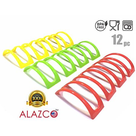 12pc Colorful Stackable ALAZCO Taco Holder Stand Server - For Soft & Hard Shell Taco - Backyard Party Picnic Fiesta (4 Red, 4 Soft Heat Server Stand