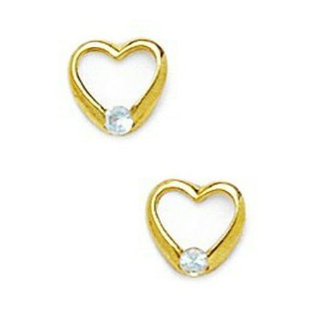 14k Yellow Gold March Lt-Blue 2x2mm CZ Heart Screw-Back Earrings - Measures 7x7mm
