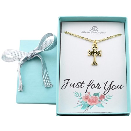 Little girls celtic cross necklace in gold plated pewter. Little girls jewelry. Christian gifts. New baby girl gift. Irish baby gift. 14 + 2 gold stainless cable chain. ()