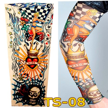 1 PCS Cycling Sports Tattoo Sleeves UV Cool Cycling Running Arm Warmer Sport Elastic Fashionable Sunscreen Sleeve Summer Outdoor (Cycling Warmers)