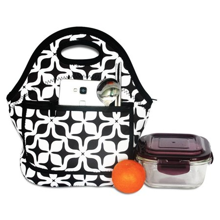 Tayyakoushi Neoprene Lunch Bag White & Black Geometric Pattern Waterproof Floral Pattern Lunch Bags for adults, women, girls, school children - Suitable for Travel, Picnic, - Schoolgirl Adult