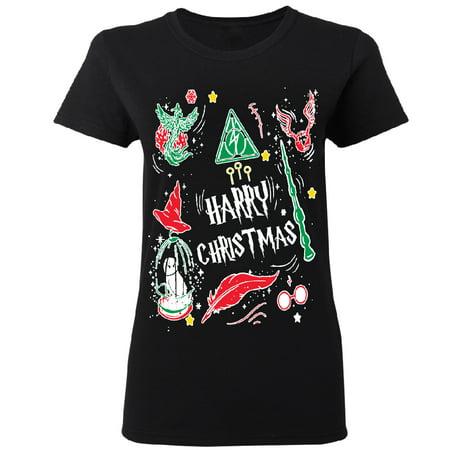 Harry Potter Muggles Hogwarts Sweater Funny Lightning Women's T-shirt Funny Christmas Tee Black Small