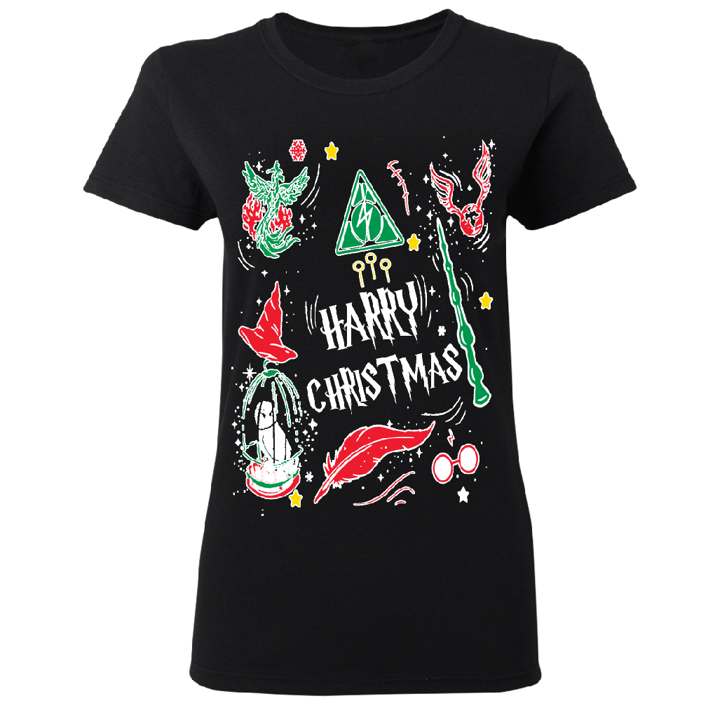 Harry Potter Muggles Hogwarts Sweater Funny Lightning Women's T-shirt Funny Christmas Tee Black Small