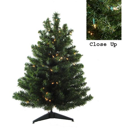 2 Pre Lit Natural Two Tone Pine Artificial Christmas Tree