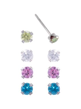 Brilliance Fine Jewelry Girls' CZ Sterling Silver 4-Piece Stud Earrings Set, 3mm