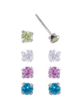 Girls' 3mm CZ Sterling Silver 4-Piece Stud Earrings Set