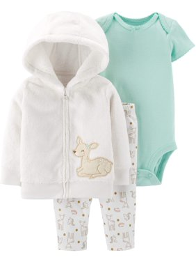 Child of Mine by Carter's Baby Girls Long Sleeve Hooded Cardigan, Short Sleeve Bodysuit, and Pant Outfit Set, 3 pc set