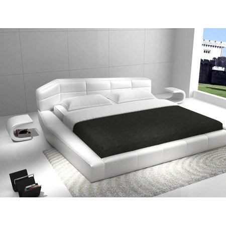 J&M Dream Contemporary White Eco Leather King Size Platform Bed Set 3Pcs