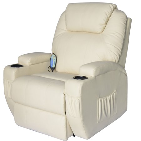 Homcom Massage Heated Pu Leather 360 Degree Swivel Recliner Chair With Remote   Cream