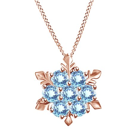 Crystal Rose Gold Necklace (Blue Crystal Frozen Princess Elsa Snowflake Pendant Necklace in 14k Rose Gold Over Sterling Silver)