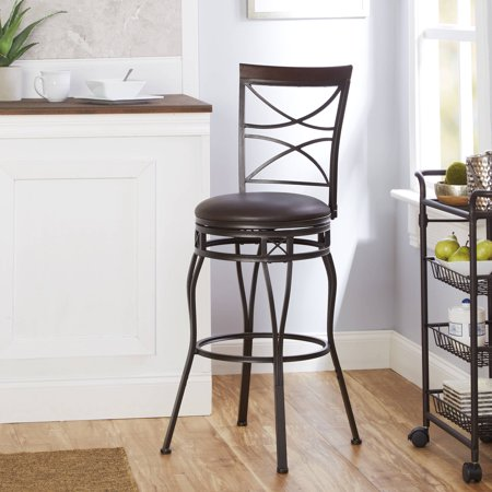 Better Homes & Gardens X-Back Adjustable Swivel Barstool, Faux Leather Seat ()