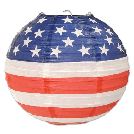 Patriotic Lantern (Club Pack of 18 Red, White and Blue USA Stars and Stripes Patriotic Lantern Hanging Decorations 9.5