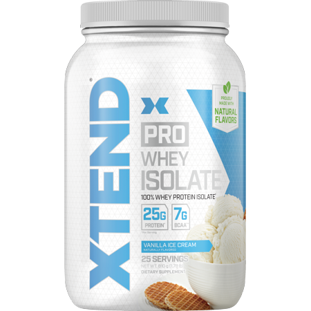 Xtend Pro 100% Whey Protein Isolate Powder with 7g BCAA & Natural Flavors, Keto Friendly, Gluten Free Low Fat Low Carb, 1.8lb, Vanilla Ice (Xtend Bcaa Best Flavor)