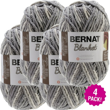 Blanket Yarn (Bernat Blanket Big Ball Yarn - Silver Steel, Multipack of 4 )