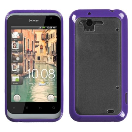 Insten Transparent Clear/Solid Purple Gummy Cover Case for HTC: ADR6330 (Rhyme)