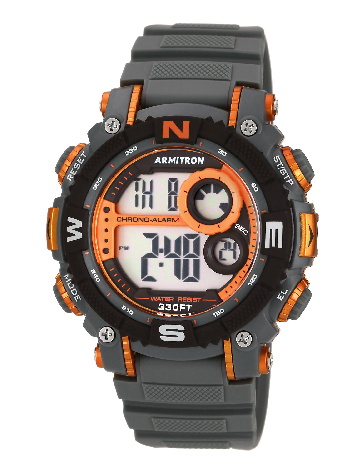 Men's Digital Sport Watch, Grey and Orange, Resin Strap