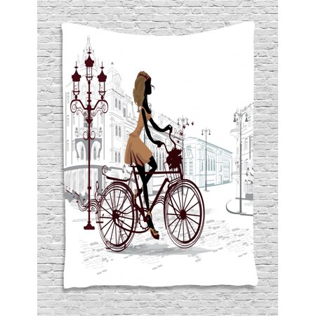 Teen Room Decor Tapestry, Young Girl in Paris Streets with Bike French Display, Wall Hanging for Bedroom Living Room Dorm Decor, 40W X 60L Inches, Chestnut and Light Brown Pearl, by Ambesonne ()
