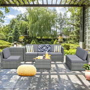 Gymax 8pcs Gray Rattan Wicker Set Cushioned Sectional Sofa Patio Home