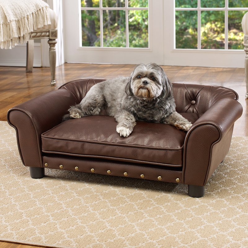 "Enchanted Home Pet Brisbane Tufted Sofa Dog Bed, Medium, 33""x21""12"", Brown"