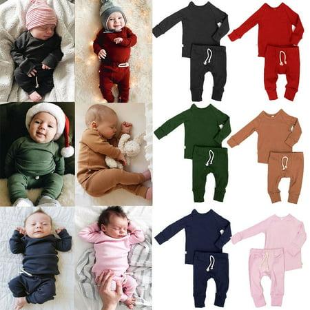 0-2T Infant Baby Boy Girl Pajamas Pjs Set Sleepwear Nightwear Clothes Outfit ()