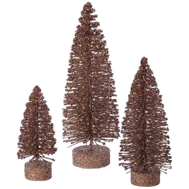 Mocha Glitter Oval Tree Set