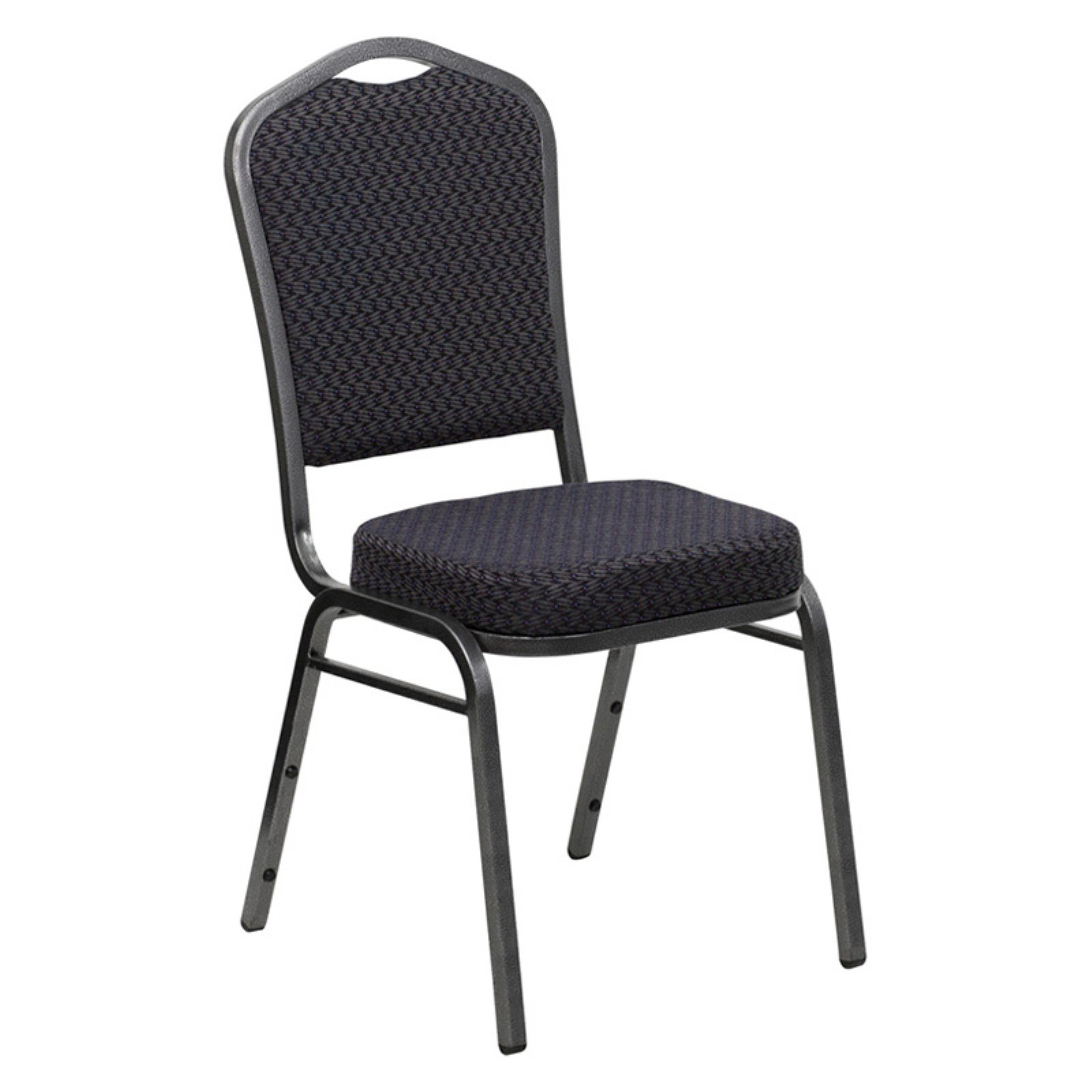 Flash Furniture HERCULES Series Crown Back Stacking Banquet Chair with Black Patterned Fabric and 2.5'' Thick Seat, Silver Vein Frame