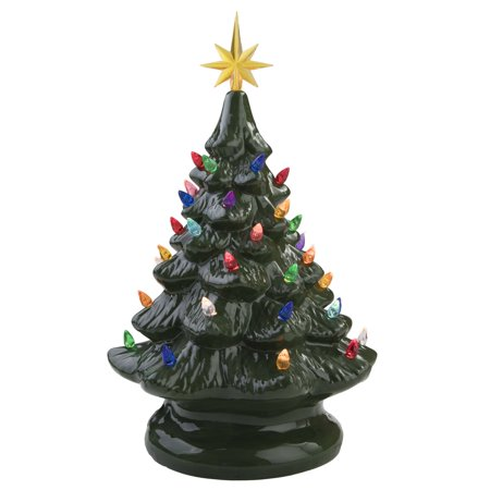 Ceramic Painted Light Up Christmas Tree with Ornaments and Star Holiday Tabletop Vintage Décor Decoration - Green ()