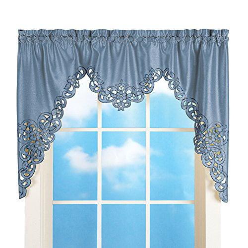 Elegant Scroll Window Valance Blue 58 Quot X 36 Quot Walmart Com Walmart Com