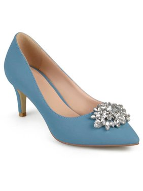 Womens Kitten Heel Jewel Cluster Pointed Toe Classic Pumps