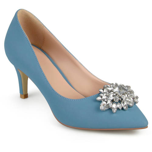 Brinley Co. Womens Kitten Heel Jewel Cluster Pointed Toe Classic Pumps