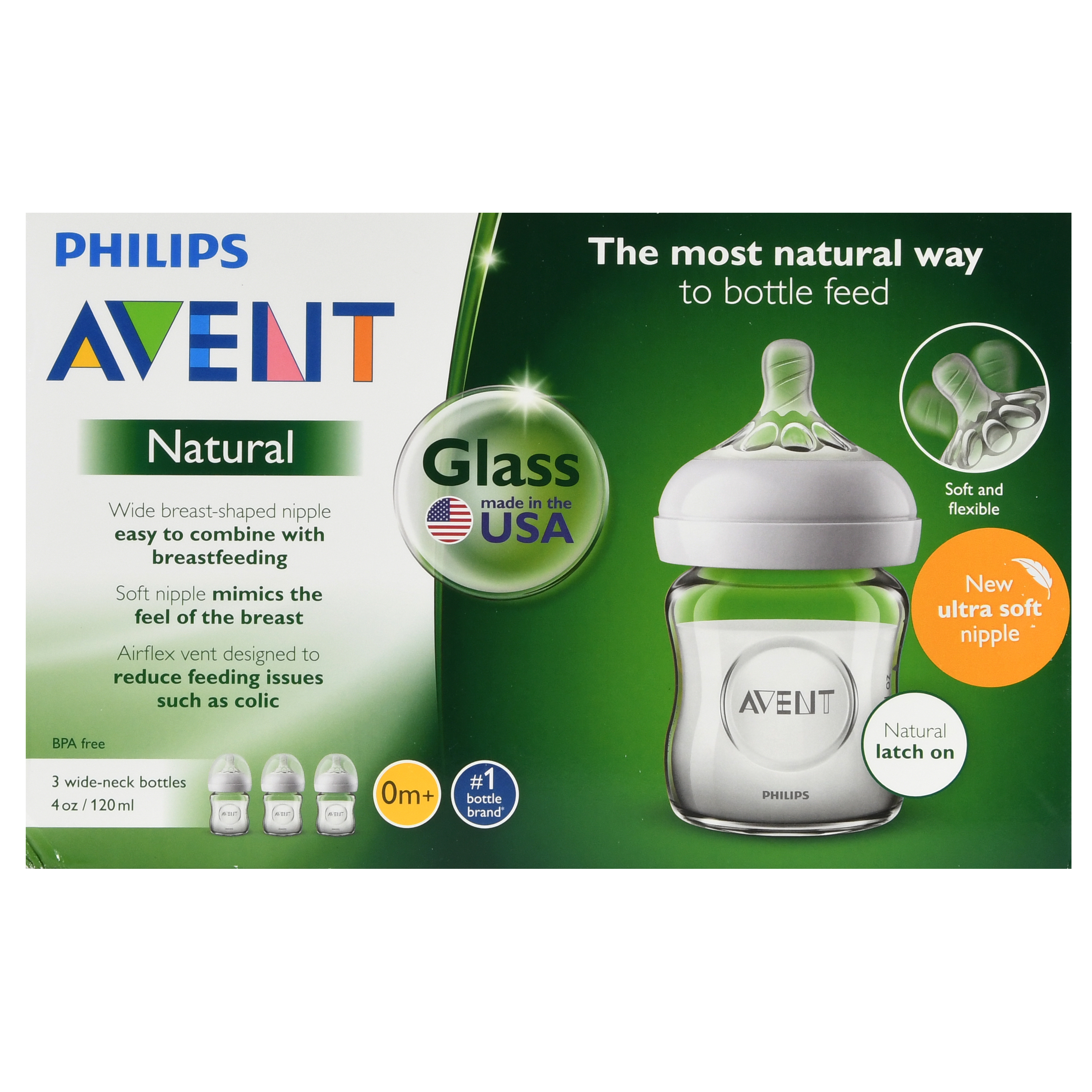 Philips Avent 3pk Natural Glass Baby Bottle 4oz