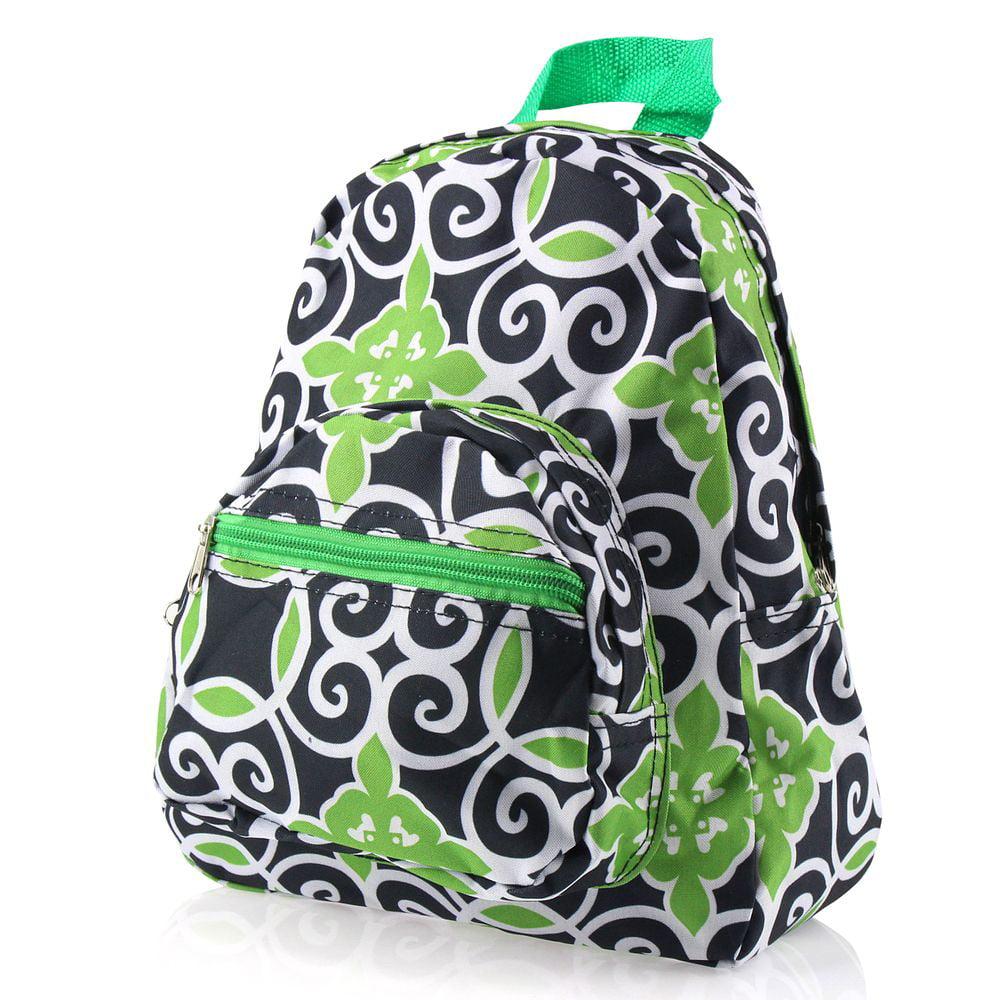 Zodaca Small Stylish Kids Backpack Outdoor Shoulder Bag Bookbag School Bag  - Green Navy Swirls 35beaeb4d3