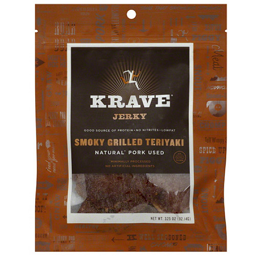 Krave Smoky Grilled Teriyaki Jerky, 3.25 oz, (Pack of 8)