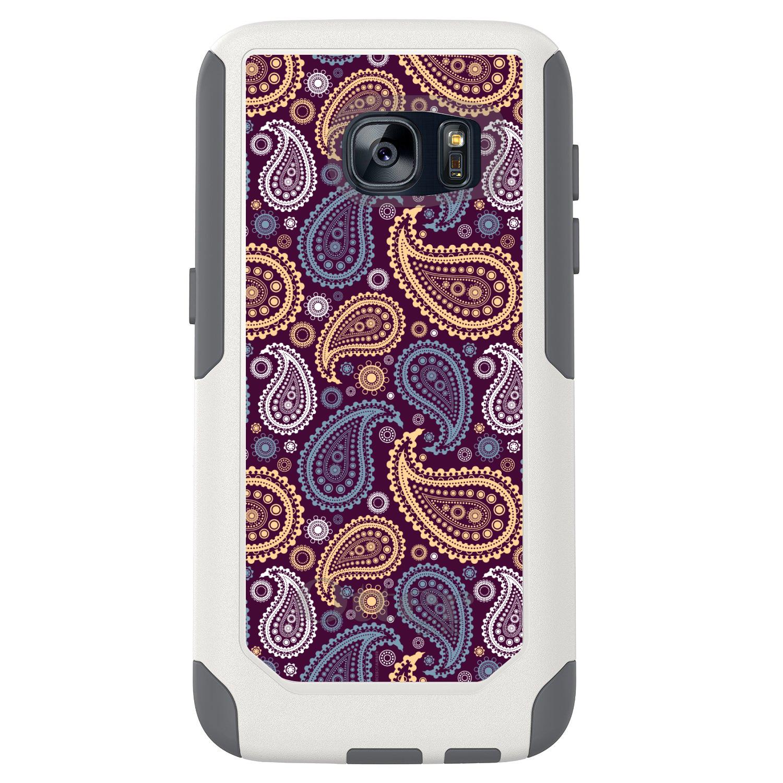DistinctInk™ Custom White OtterBox Commuter Series Case for Samsung Galaxy S7 - Purple Yellow Blue Paisley