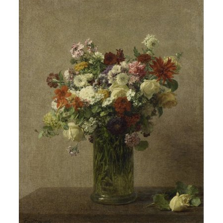 Flowers From Normandy By Henri Fantin-Latour 1887 French Impressionist Painting Oil On Canvas Bouquet Of Flowers In A Tall Glass Vase On The Table Lies A Fallen Rose Poster Print
