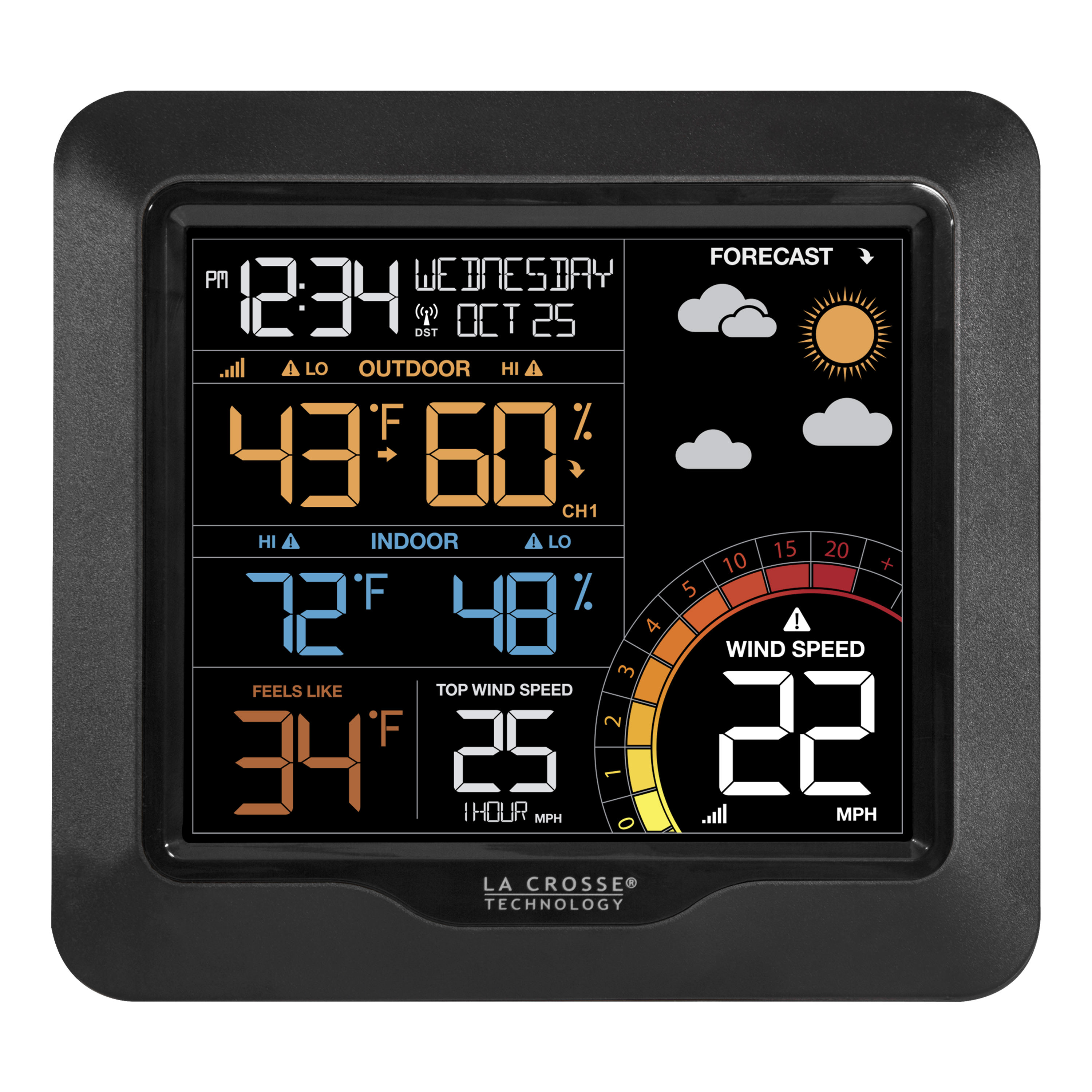La Crosse Technology 327-1417 Color Wind Speed Weather Station with Wind & Outdoor Sensor