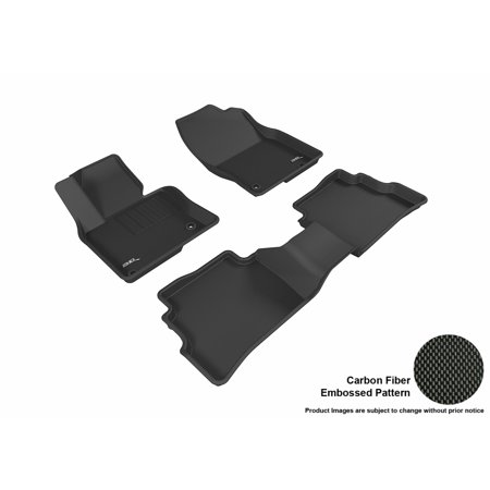 3D MAXpider 2017-2017 Mazda CX-5 Front & Second Row Set All Weather Floor Mats in Black with Carbon Fiber Look ()