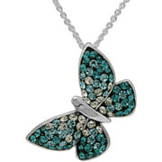 Blue Ombre Crystal Fine Silver-Tone Butterfly Pendant with Chain
