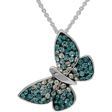 Blue Ombre Crystal Fine Silver-Tone Butterfly Pendant with -