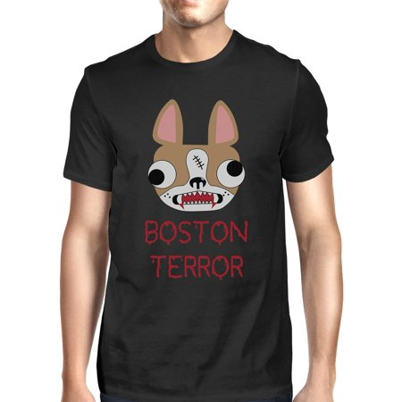 Boston Terror Terrier Halloween Shirt For Men Black Cotton Crewneck