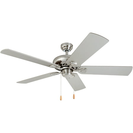 Prominence Home 50589-35 Edith Traditional 52-Inch Brushed Nickel Indoor Ceiling Fan, Chilled Gray / Chocolate Maple Blades