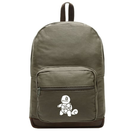 squirtle canvas teardrop backpack with leather bottom accents