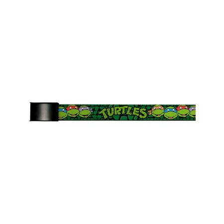 TMNT Cartoon TV Series Turtle Faces Close-Up Logo Black Buckle Web Belt