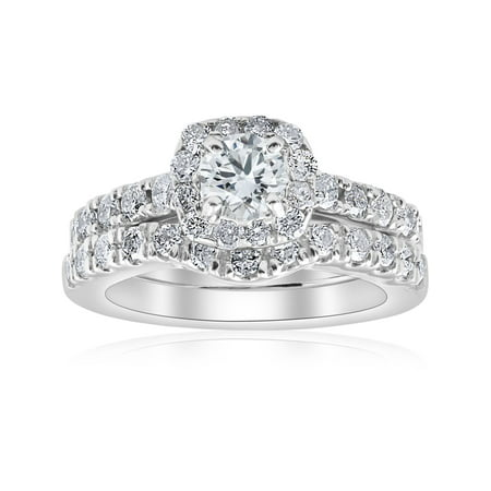 1 1/4Ct Cushion Halo Diamond Engagement Matching Wedding Ring Set 14K White - Superman Wedding Ring Set