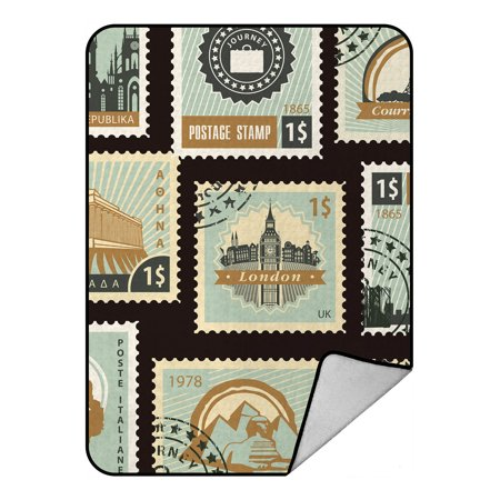 YKCG Old Stamps Collection Postage for Sale Styled Vintage Blue Blanket Crystal Velvet Front and Lambswool Sherpa Fleece Back Throw Blanket 58x80inches