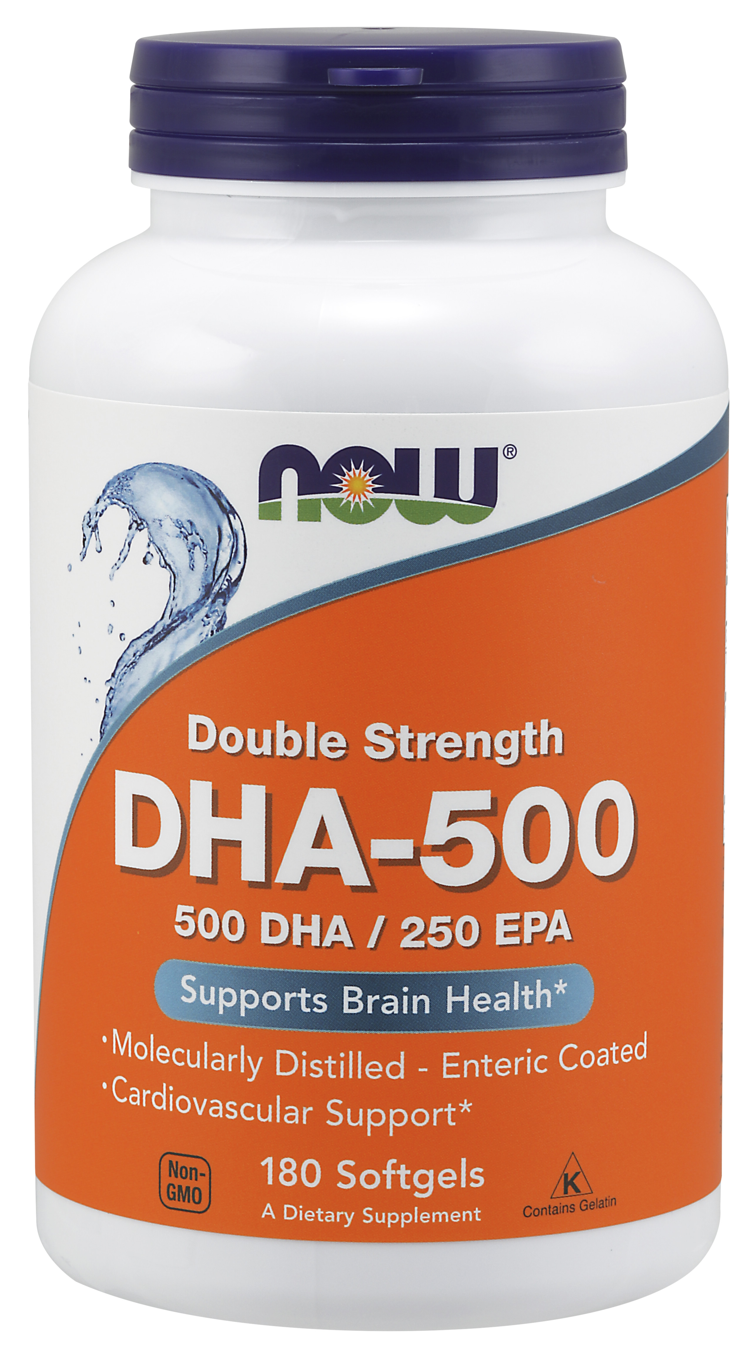 Now Supplements Dha 500 Molecularly Distilled 180 Softgels